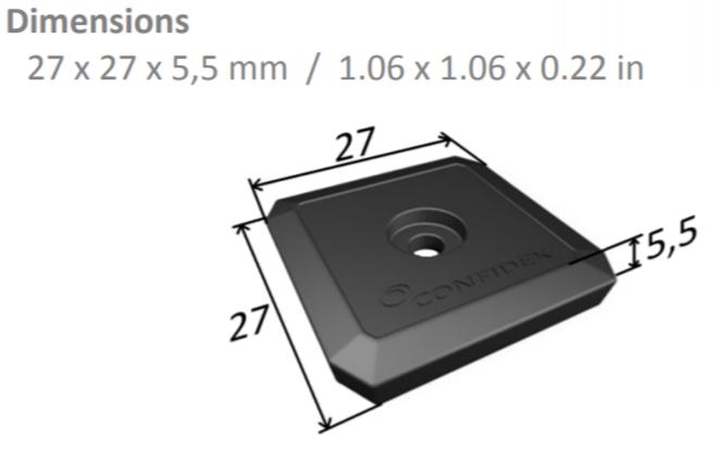 5 Tags - Confidex Ironside Micro™ RFID Tag